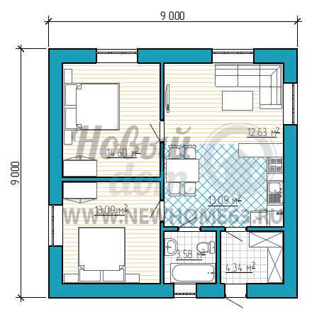 Планировка коттеджа 9 на 9 с двумя спальными, общей зоной кухни и гостиной.