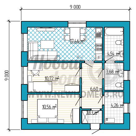 Планировка загородного дома с двумя спальными, общей кухней-гостиной, отдельными ванной и туалетом.
