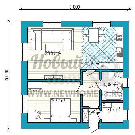 Планировка дома 9х9 м для комфортного проживания 2-3 человек с просторной спальной, большой гостиной и удобной кухней-столовой.