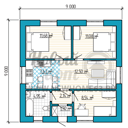 Планировка квадратного коттеджа 9 на 9 метров с тремя небольшими спальными, общей небольшой зоной кухни и гостиной.