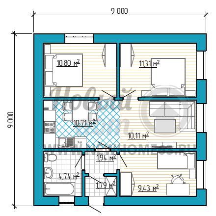 Планировка коттеджа 9х9 м с тремя небольшими спальными
