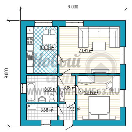 Планировка квадратного дома 9х9 м с отдельной кухней, просторной гостиной и одной спальной.