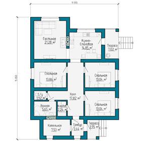 План первого этажа фахверкого дома в Самаре