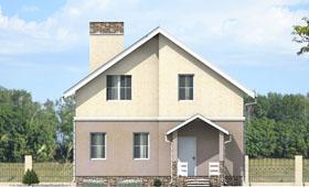 Первый фасад небольшого двухэтажного дома