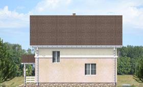 Второй фасад небольшого двухэтажного коттеджа