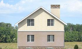Третий фасад небольшого двухэтажного коттеджа