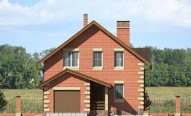 Первый фасад небольшого двухэтажного дома с гаражом
