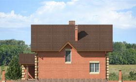 Второй фасад небольшого двухэтажного коттеджа с гаражом