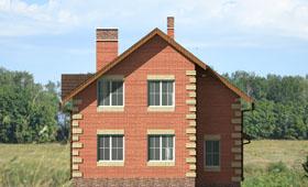 Третий фасад небольшого двухэтажного коттеджа с гаражом