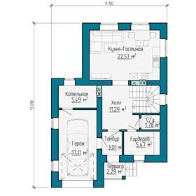 План первого этажа частного дома  с гаражом в Самаре