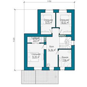 План мансардного этажа небольшого дома  с гаражом в Самаре