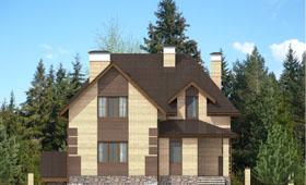 Первый фасад двухэтажного дома с цокольным этажом
