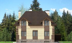 Третий фасад двухэтажного коттеджа с цокольным этажом