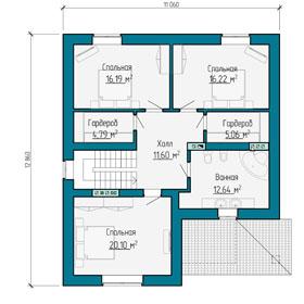 План мансардного этажа небольшого дома с цокольным этажом в Самаре