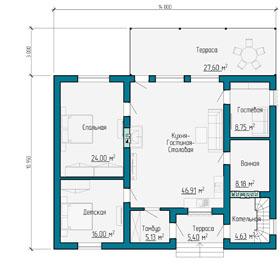 Планировка одноэтажного загородного коттеджа в Самаре