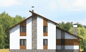 Первый фасад современного дома с мансардой