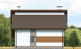 Второй фасад небольшого современного коттеджа с гаражом