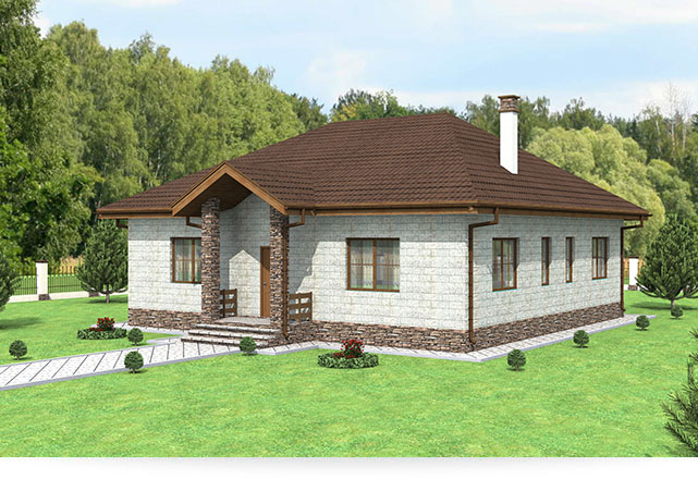 Проект одноэтажного дома с 4-мя спальными