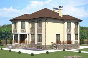Проект трехэтажного дома с цокольным этажом
