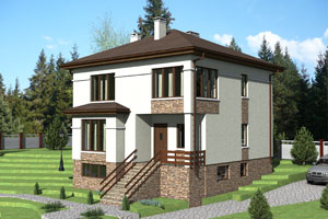 Проект трехэтажного коттеджа на склоне