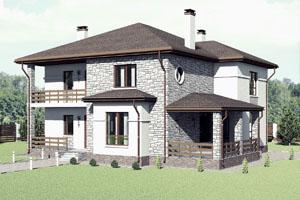 Проект двухэтажного коттеджа с балконом