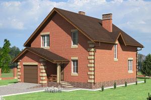 Двухэтажный дом со встроенным гаражом