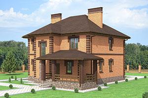 Двухэтажный дом с облицовочным кирпичом