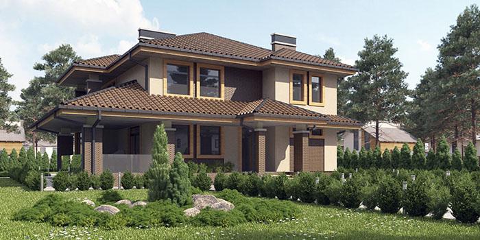 проект простого частного дома в стиле Райта