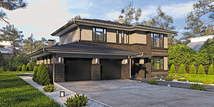 проект дома с гаражом в стиле Райта