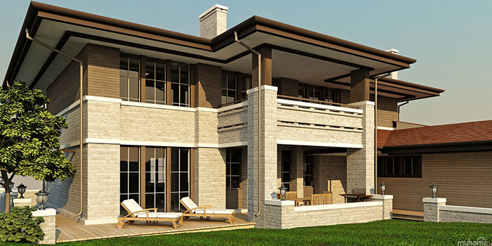 частны двухэтажный дом в стиле райта
