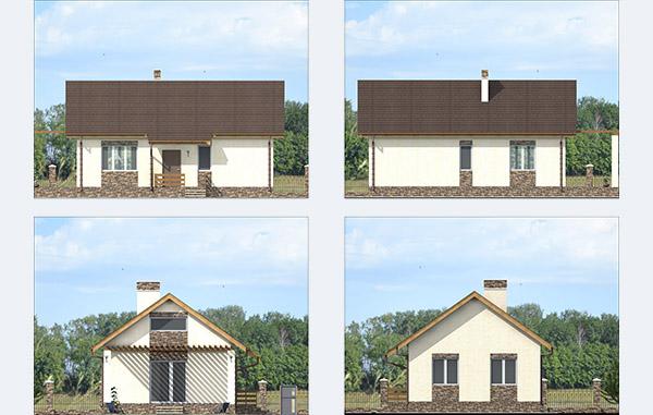 Фасады одноэтажного дачного дома из теплой керамики
