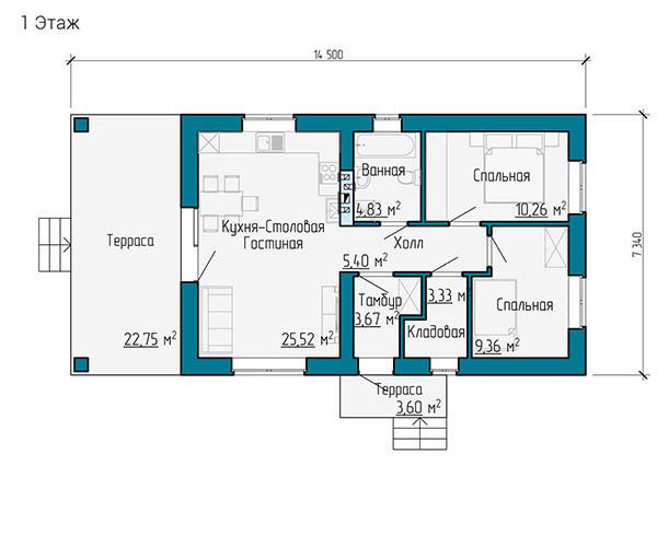 План одноэтажного дачного дома в Самаре