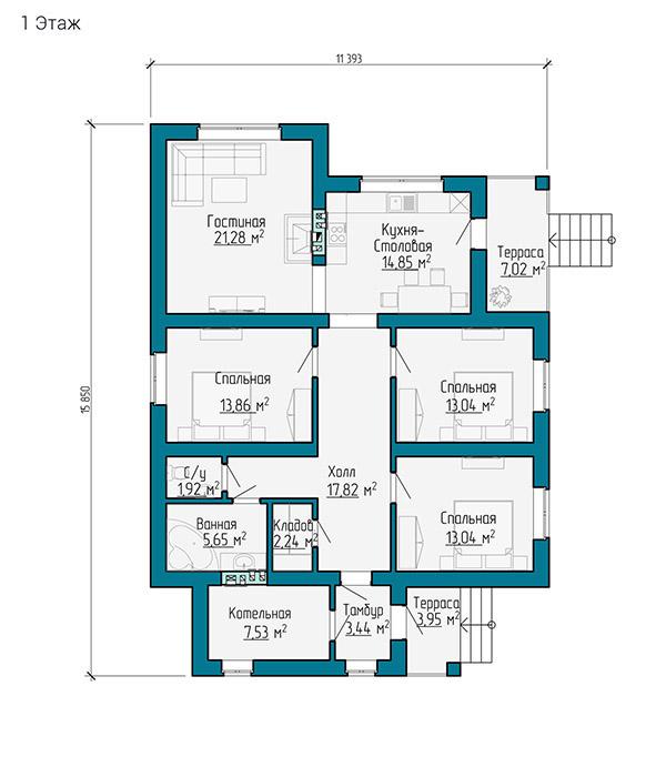 Планировка одноэтажного дома 16 на 11 метров