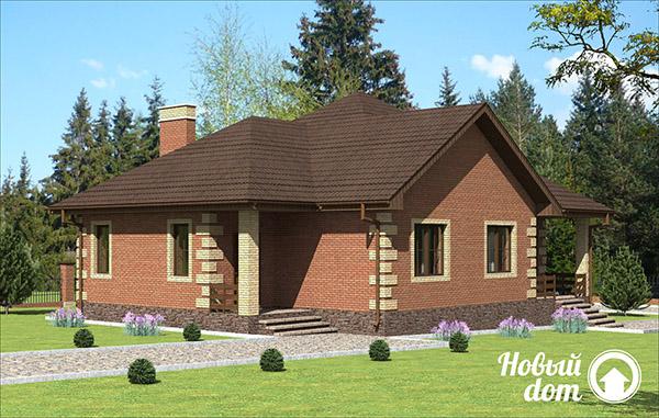 Проект одноэтажного дома с тремя спальными