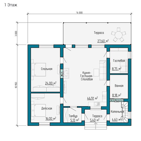 Планировка одноэтажного дома со вторым светом
