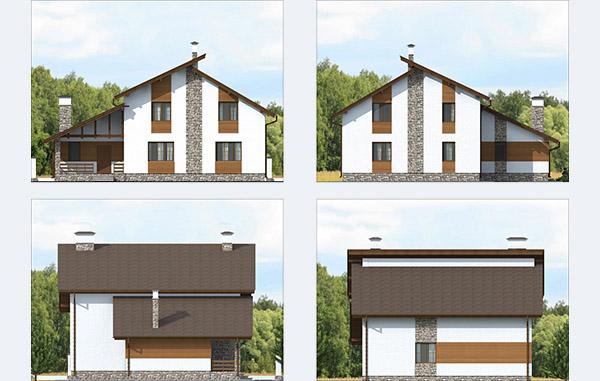 Проектирование двухэтажного дома из газобетона с отделкой деревом