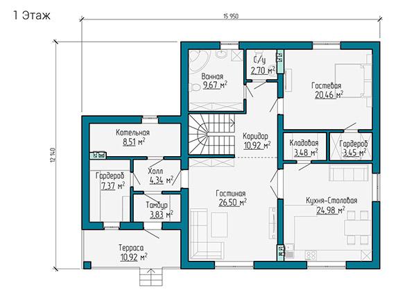 Планировка первого этажа двухэтажного дома из газобетона  с отделкой деревом