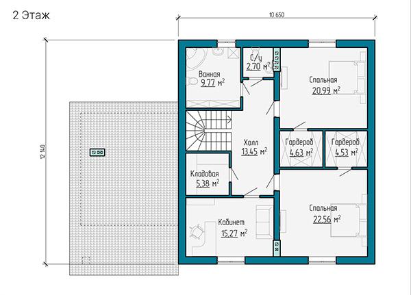 Планировка второго этажа двухэтажного дома из газобетона с отделкой деревом
