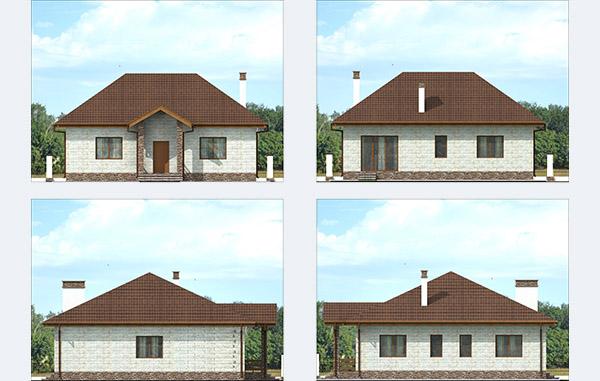 Фасады одноэтажного дома из керамзитобетона и доломитового блока