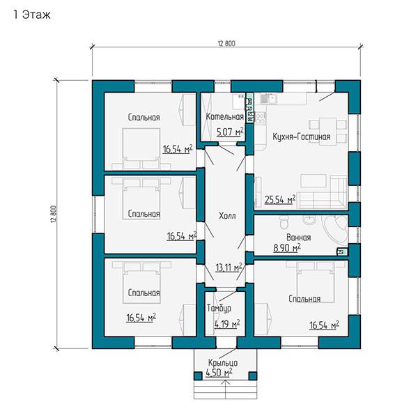 Планировка одноэтажного коттеджа 130 кв.м