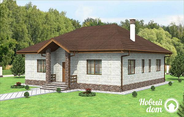 Проект одноэтажного дома с четырьмя спальными