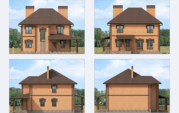 Проектирование двухэтажного дома из газобетона с облицовочным кирпичом