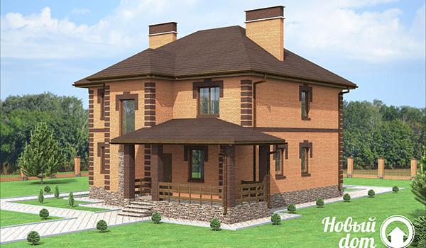 030. Двухэтажный дом с облицовочным кирпичом