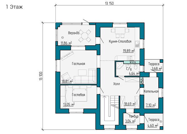 Планировка первого этажа двухэтажного дома из газобетона и кирпича