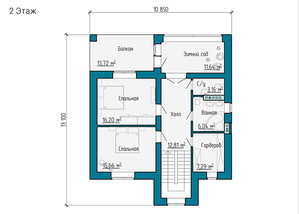 Планировка второго этажа двухэтажного дома из газобетона и кирпича