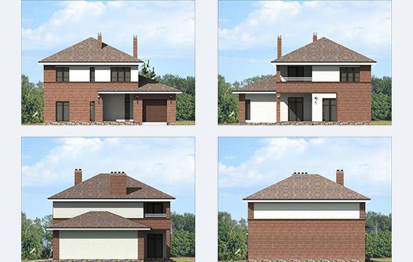 Фасады двухэтажного дома с гаражом