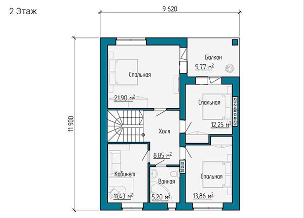 Планировка второго этажа двухэтажного дома