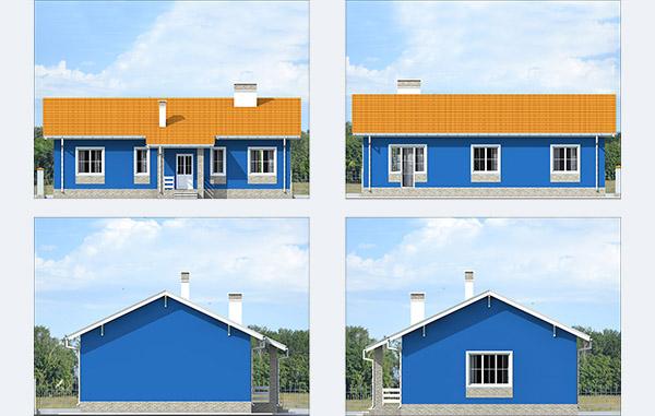 Фасады одноэтажного дома из блоков KAIMAN