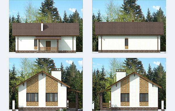 Фасады одноэтажного дома из керамзитобетона