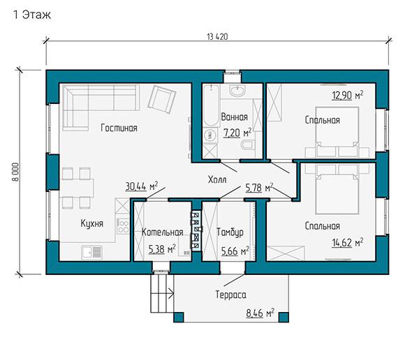 План одноэтажного дома 8 на 13 метров